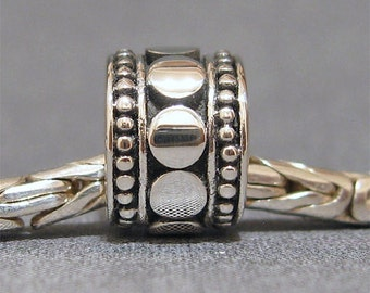 Sterling Silver Slider No. 1 Spacer European Charm Sterling Silver Big Hole Bead