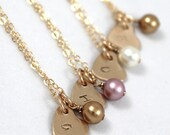 Set of 4: Bridesmaid Gift Set Personalized Gold Necklaces, Swarovski Pearl with Gold Filled Stamped Heart Charm