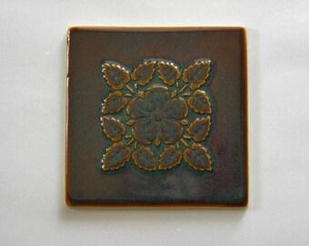Handmade Ceramic Tile with Flower Design, Reproduction Tile