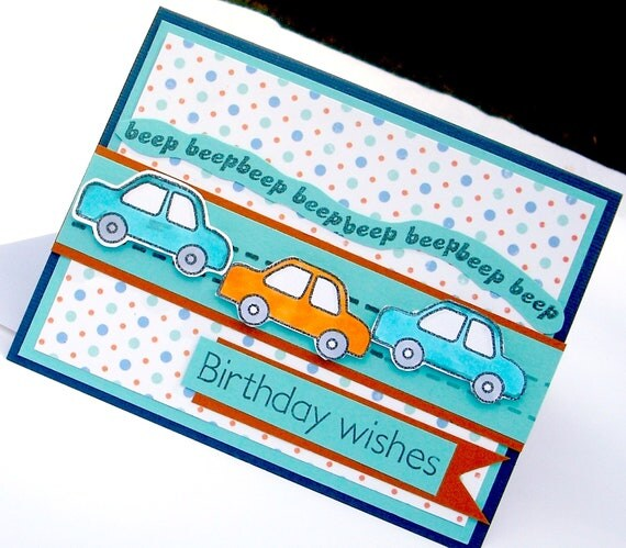 Child's Boy's Birthday Card Blue and orange Polka Dots and Beep Cars Birthday Wishes
