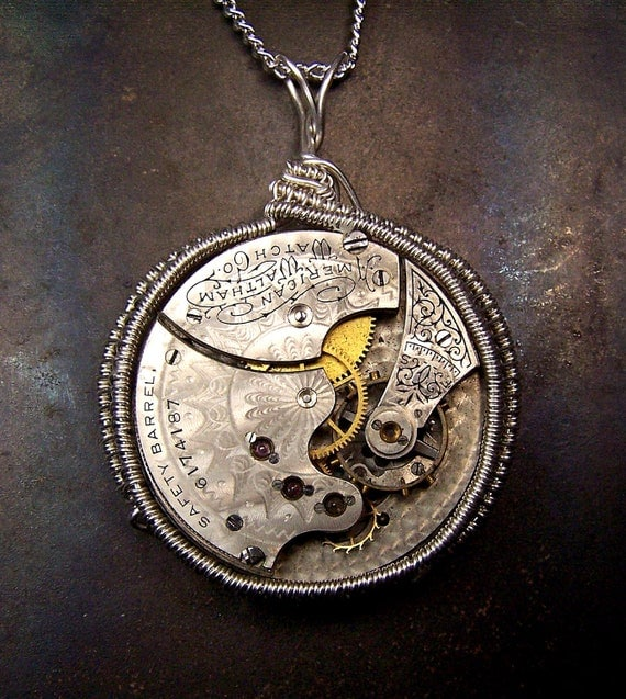 Antique Watch Movement necklace - Elaborate Sterling Silver wire wrapped - engraved jeweled - Large - Unique ooak - steampunk