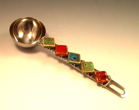 Hand Beaded Stainless Steel Coffee Scoop with Pottery Beads