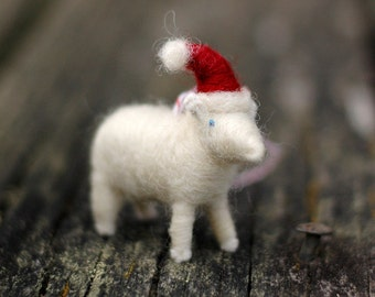 Santa Lamb - Needle Felted Christmas Ornament