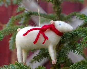 Sheep with Red Scarf - Needle Felted Christmas Ornament