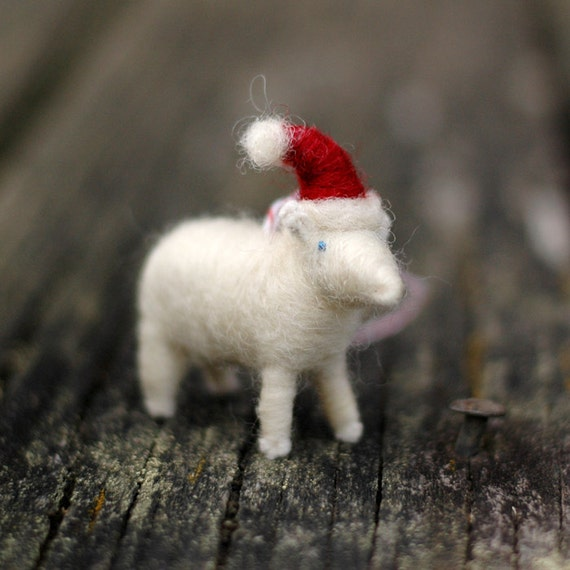Ships for Xmas - Santa Lamb - Needle Felted Christmas Ornament