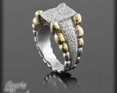 Mans Diamond Ring - Two Tone OOAK - Designer Pave Ring - LS191