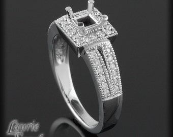 Diamond Halo and Split Shank Ring Semi Mount for an Asscher, Cushion, Radiant, or Princess Cut Gemstone - LS2004