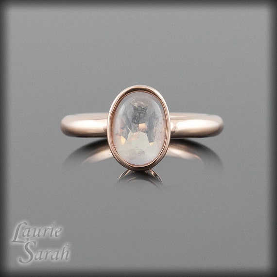 Oval Moonstone Ring, Stacking Ring, Engagement Ring, Promise Ring, Gemstone Ring  in 14k Rose Gold - LS2271