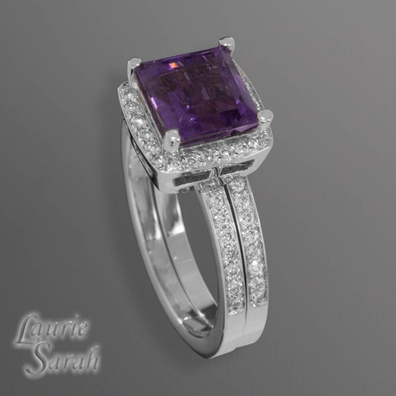 amethyst engagement ring and wedding band set with princess