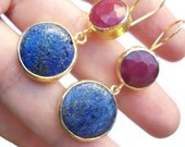 SALE  SALE  SALE--------Lapis and Jade Gold Plated brass earring