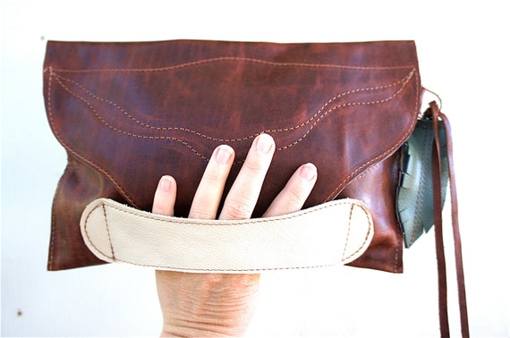 For Katie Jo///Oil Tanned Distressed Brown Leather Clutch with Cream Leather Handle