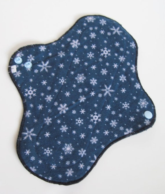 Reusable Panty liner Mama Cloth Pad .. Snowflakes Flannel .. 10 inch