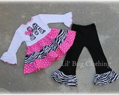 Custom Boutique Personalized Initial  Pink Black and Zebra Tiered Top and Leggings Birthday Girl