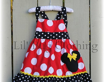 Custom Boutique Clothing Red White Dot  Yellow Minnie Mouse Halter Dress Disney
