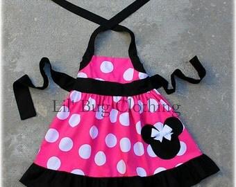 Hot Pink Minnie Mouse Jumbo Dot Jumper Dress Black Trim