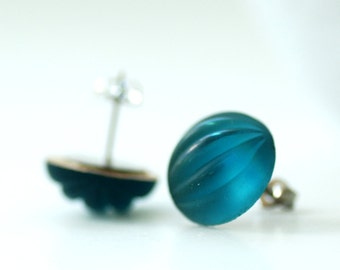 Turquoise Blue Stud Post Earrings, Sea Blue Ribbed Glass, Caribbean Blue, Post Earrings, Foiled Glass, Steel Posts