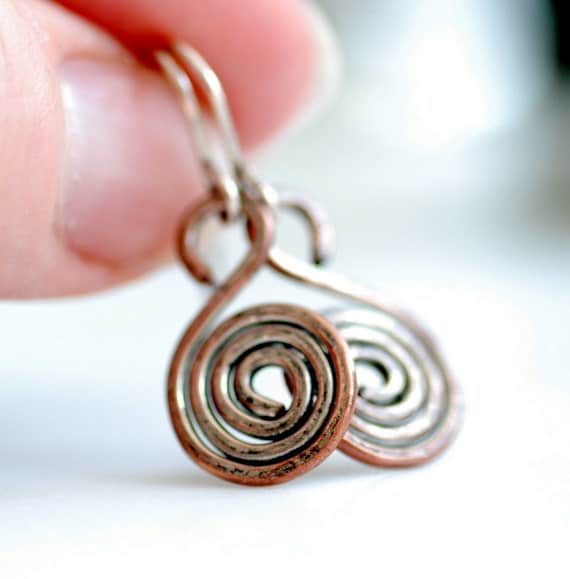 Copper Earrings, Spiral Earrings, Hammered Wire Earrings, Rustic Earrings, Everyday Earrings, Coil Earrings, Metalwork Jewelry