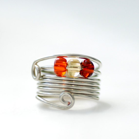 Wire Ring, Beaded Ring, Funky Ring, Silver Metal Ring, Fashion Jewelry Under 25 - Wild Child