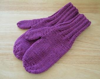 MITTENS HAND KNIT Adult Wool Raspberry Heather