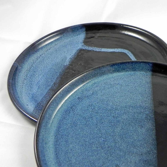 Plate Dinner Large One Blue and Black Ceramic Stoneware Pottery from ZPottery Dinnerware Set Available