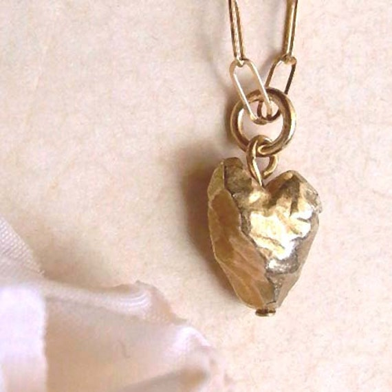 Heart Necklace - Brass - Tiny - Heart Drop - Beveled - Rustic - Cottage Chic - Asymmetrical - Heart Drop Necklace