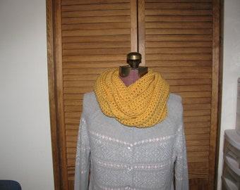 Warm winter Yellow infinity scarf