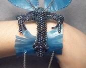 Dustel, beadwoven winged dragon bracelet