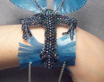 Dustel, beadwoven winged dragon bracelet