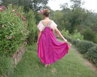 Dreamy High Low Fushia Dress Sequin and Swarovski Crystal Details Petal Pink Silk Sleeves
