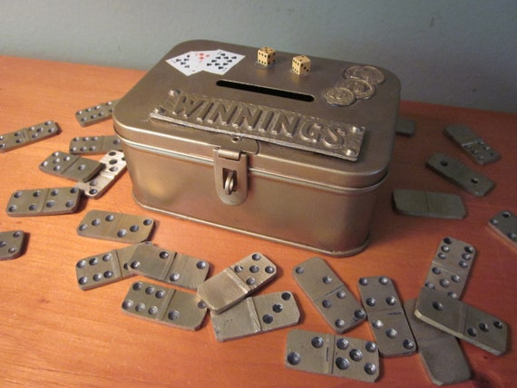 Little Vintage Gold Winnings Tin Bank With Brass Dominos