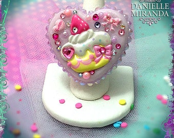 Sweet Strawberry Cupcake Lavender Kawaii Collage Sparkle Heart Ring