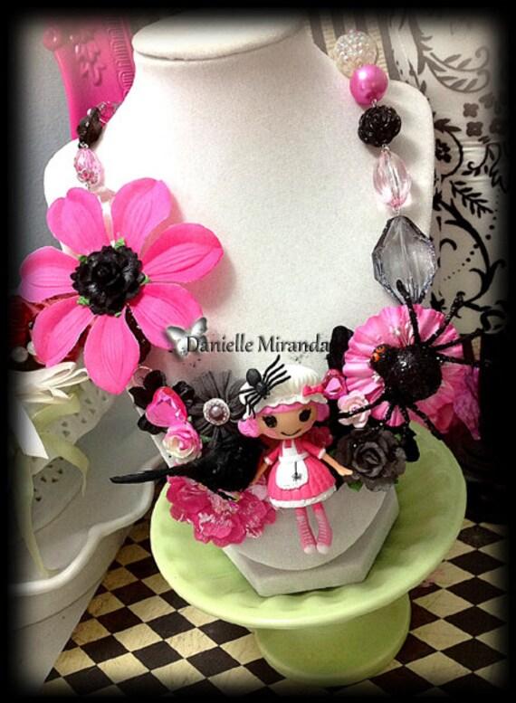Spooky Spider Lalaloopsy Miss Muffet Floral Statement Kawaii Bib Necklace