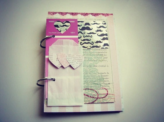 Ready to ship! I Mustache You Sweet Premade Mini Album/Journal Valentine's Day, Wedding, Love Story, Us