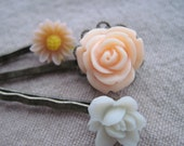 Peaches and cream vintage flower hair pins, set of three, handmade hair jewelry