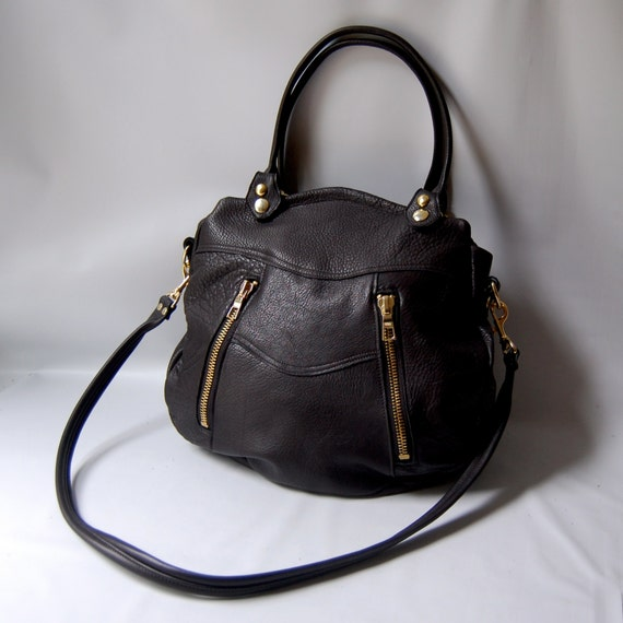 SALE - Ready to ship - Larch leather bag in black