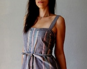 recycled SHIRT mini dress / 1970s smocked sun dress