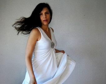 vintage 1970s beaded empire waist white WEDDING dress