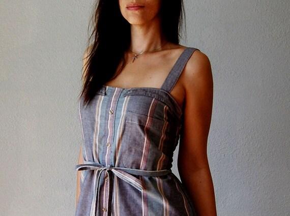 recycled SHIRT mini dress / 1970s smocked sun dress