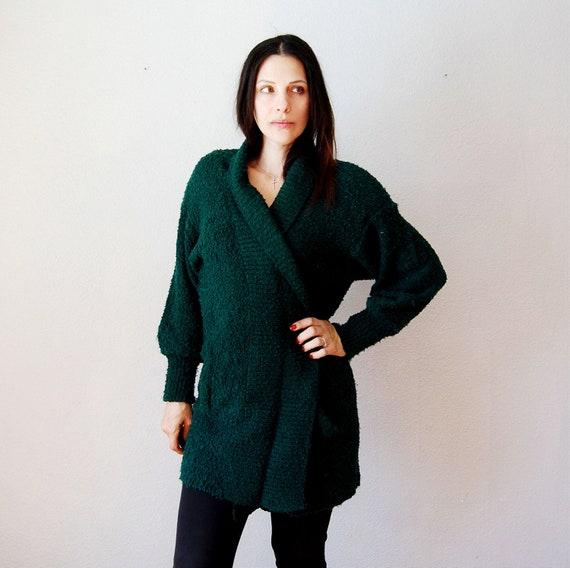 vintage OVERSIZED cardigan / 1980s forest green KNIT slouchy sweater coat