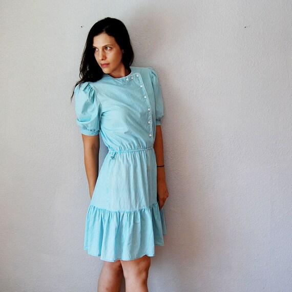 vintage ASYMMETRIC dress / 1980s candy striped day dress