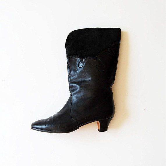 vintage BLACK leather boot /  1980s novelty suede boots
