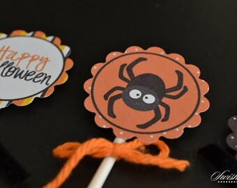 Halloween Cupcake toppers - 2 inch circles  - printable