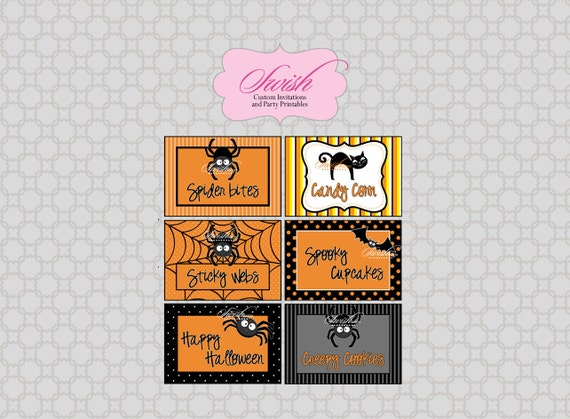 Halloween printable food labels - diy digital