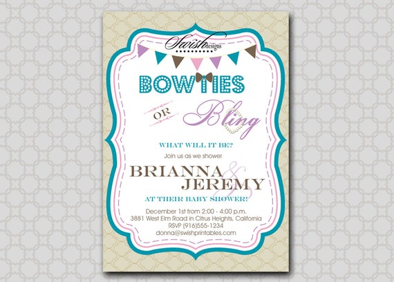 Bow ties and Bling Baby Shower Invitation Digital