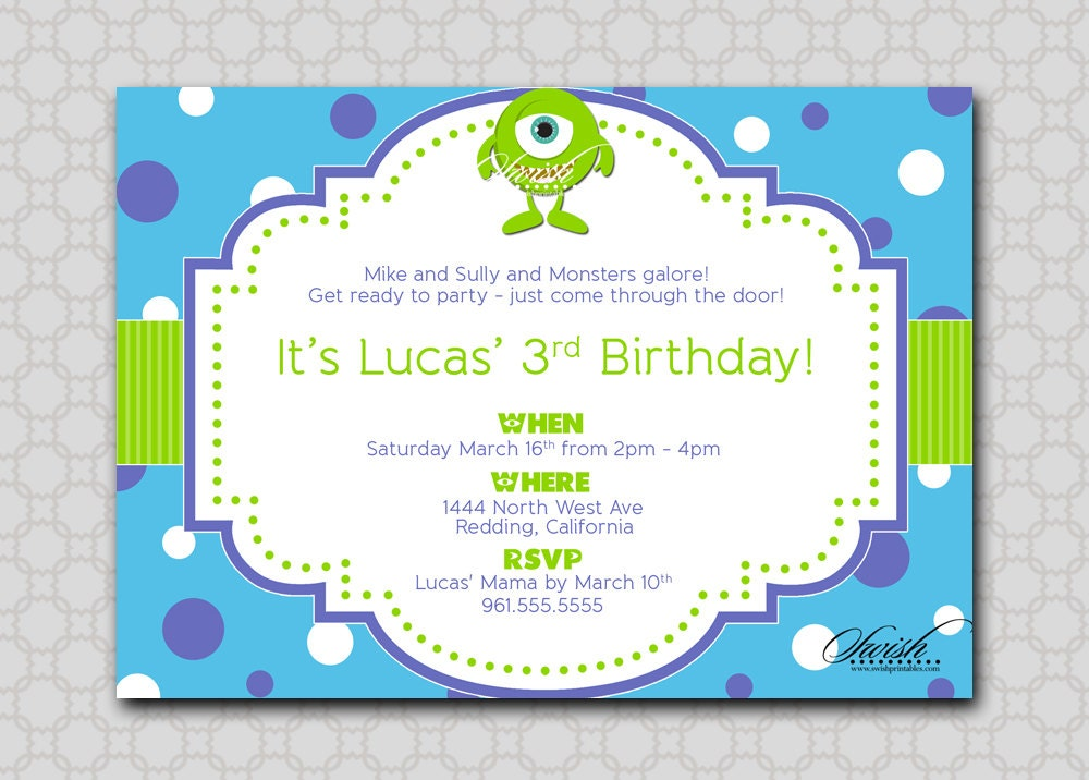Monsters Themed Birthday Party Invitation Mike Sully Inc