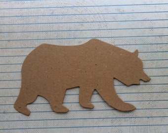 3 Bare chipboard Polar Bear or Grizzly Bear diecuts 5 1/4 inches wide