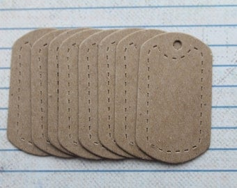 8 bare chipboard military style dog tag  diecuts kraft brown color