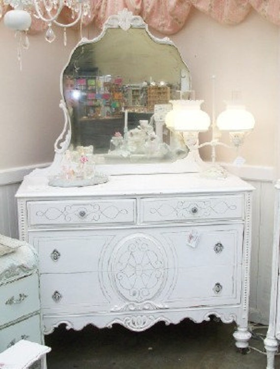 Shabby Cottage White Dresser with Original Mirror Shabby French Pink Paper Rose