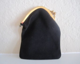 Vintage Black Coin Purse With Gold Acccents