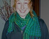 Emerald handwoven cotton scarf